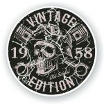 Distressed Aged Vintage Edition Year Dated 1958 Biker Skull Roundel Vinyl Car Sticker Decal 87x87mm